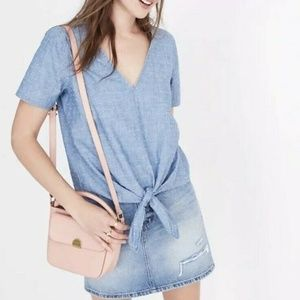 Madewell Blue Chambray Novel Tie Front V Neck Top